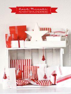 Dreierlei Liebelei: Last Minute Adventskalenderidee in rot und weiß