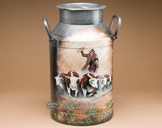 Rustic Western Painted Milk Can - Cattle Drive - Mission Del Rey Southwest Western Decor, Western Art, Painting Canning Jars, Milk Can Decor, Painted Milk Cans, Old Milk Jugs, Southwestern Home Decor, Cattle Drive, Milk Crates