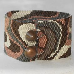 Modern Metals  Peyote Bracelet  Beadwoven Cuff  Wide  by time2cre8, $76.00