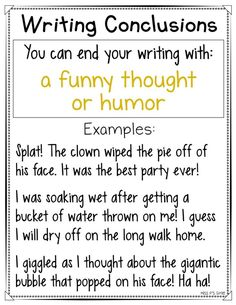 Are your students having a hard time ending their personal narrative or expository writing pieces? These writing conclusions anchor charts are helpful with providing a variety of ways to close their writing for their reader! Get 16 different ways to end your writing in an interesting and intriguing way! #writingworkshop #anchorcharts #writingconclusions #narrative #expository #conclusions Essay Writing Skills, Paragraph Writing, English Writing Skills, Writing Strategies, Book Writing Tips, Narrative Writing, Writing Words, Writing Lessons, Writing Workshop