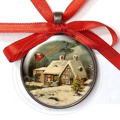 Nostalgic Christmas Cottage with Santa's Sleigh  by HorizonCottage