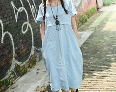 Linen Shift Dress with Pockets / Linen Blue Sundress Tunic /Oversize Tunic Top/ Blue Loose Dress- Tunic XL,XXL plus size A8003