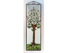 Tree of Life 3  Painted Glass by KorosiArt on Etsy