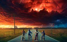 Download wallpapers Stranger Things, 2017, TV Series, 4k, poster, children on bicycles, Gaten Matarazzo, Finn Wolfhard