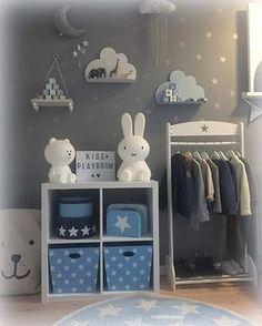 une décoration tons bleu, blanc et gris pour une adorable chambre de ...
