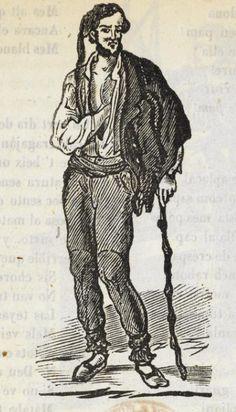 Xilografía en cabecera de un hombre de pie con un bastón y una mano en el pecho