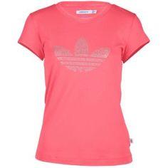 adidas Originals Rhinestone Logo S/S T-Shirt - Women's - Sport Inspired - Clothing - Super Pink/Metallic Silver