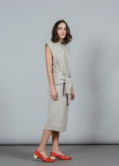 REFINED - Wool Waist Tie Sweater Dress I Rachel Comey