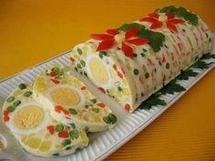 Rocambole salgado de gelatina (maionese enformada)