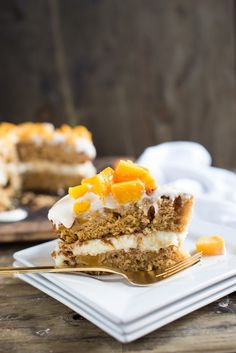 BRAZILIAN FLAIR PEACH CAKE Brazilian flair peach cake has layers of peaches making this cake super moist light and delicious! Party Desserts, No Bake Desserts, Delicious Desserts, Dessert Recipes, Yummy Food, Fun Recipes, Bread Cake, Pie Cake, Baking Recipes
