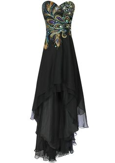 Amazon.com: Meier Women's Strapless Peacock Embroidery Chiffon Gown: Clothing