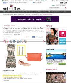 Dois produtos da Elo7 foram publicados no Portal MdeMulher em matéria sobre estampas étnicas.