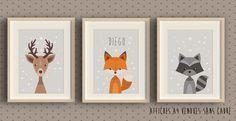 3 Affiches à encadrer pour chambre d'enfant - Renard - cerf - blaireau : Affiches, illustrations, posters par la-chouette-mauve