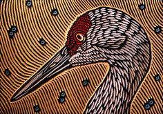 """Saatchi Art is pleased to offer the painting, """"Sandhill Crane,"""" by Lisa Brawn. Original Painting: Wood on N/A. Size is 0 H x 0 W x 0 in. Crane Drawing, Woodcut Art, Acid Art, Rustic Art, Wildlife Art, Design Art, Design Ideas, Printmaking, Saatchi Art"""