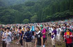 The slopes of Naeba ski resort form the green backdrop for Fuji Rock during the summer months @ Kevin Utting