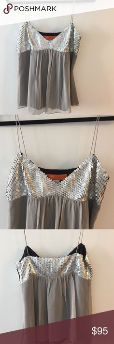 Fun sparkly silver top! Fun sparkly silver top by Cynthia Steffe. Never been worn, NWT. Runs a little smaller in the bust. Super fun and cute for a party or New Years! Cynthia Steffe Tops