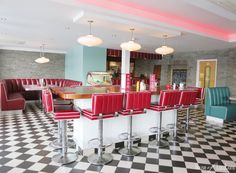 American Diner Restaurant - Love the checkered floor and tall chairs