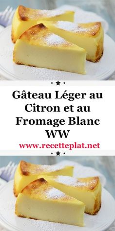 Here is the recipe for the WW light lemon and cottage cheese cake, a good light cake, soft as desired and flavored with lemon, easy and simple to make for dessert or a light snack at home. Diabetic Desserts, Köstliche Desserts, Diabetic Recipes, Delicious Desserts, Cooking Recipes, Light Cakes, Light Recipes, Atkins, Food Cakes
