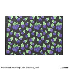 Watercolor Blueberry Case Cover For iPad Air #watercolor #blueberry #pattern #purple #dark #leaves #green #ink #cute #berry #watercolour #colorful #faerieshop #zazzle #accessories #case #cover