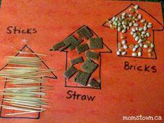 3 Little Pig House craft: Sticks, Straw & Bricks - easy toddler concept!