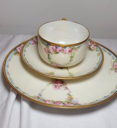 HARVILAND LIMOGES FRANCE. CUP & SAUCER & DINNER PLATE. FORGET ME NOT WREATHS. ELEGANT AND BEAUTIFUL. SEE ALL PHOTO'S. | eBay!