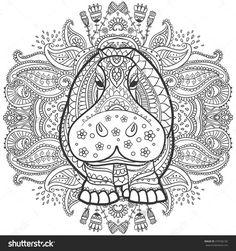 Beautiful Illustration Hippopotamus For Design Print Clothing Stickers Tattoos Adult Coloring Book