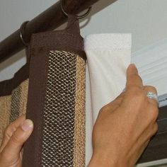 Love this idea found on pinterest to use velcro tape to attach a backing to curtains. This will allow you to add an extra layer of fabric to the back of thin curtains to help keep rooms warmer by blocking out draughts.