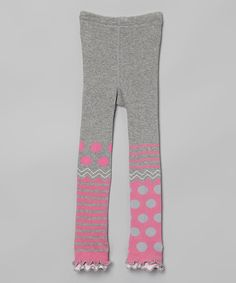Look what I found on #zulily! Pink & Heather Gray Wild Dot Leggings - Infant, Toddler & Girls by Naartjie Kids #zulilyfinds