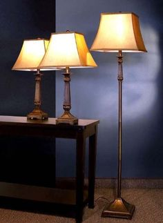 3pc Table  Floor Lamps Set in Deep Bronze Finish * Click for Special Deals #ChristmasLights
