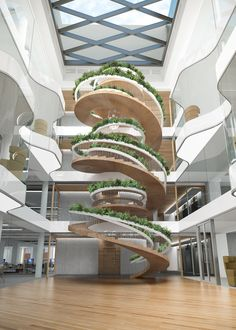 """This spiral #structure is """"more than a means of moving from floor to floor"""".  'Living staircase' by Paul Cocksedge Studio provides a place to stop and look, read, talk, meet, think… at every step.  What do you think you would do?  #design #interior #ddn #designdiffusion"""