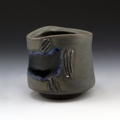 Shadow May  Sculptural stoneware cup, Charcoal black matte glaze with soft glass and seashells, Cone 6 oxidation