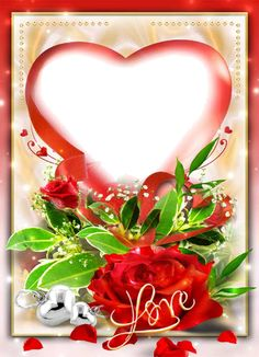 Beautiful Love Photo Frame With Heart Shape Roses Photo Frames, Backgrounds. Photo Frame Wallpaper, Framed Wallpaper, Love Flowers Photos, Love Photos, Colorful Flowers, Shopkins, Valentines Frames, Love Frames, Heart Pictures
