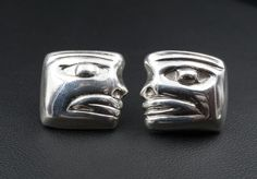 Taxco Vintage William Spratling Mayan Mask Face Sterling Silver Earrings TS-24 ES1092 #WilliamSpratling #mayan
