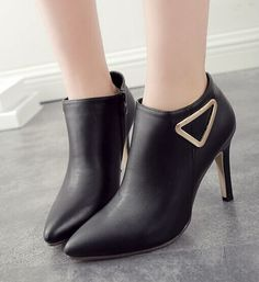 Fashion Pointed Closed Toe Stiletto Super High Heel Black PU Basic Pumps