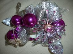 Vintage Christmas Corsage Fusia Silver by nanciesvintagenest, $33.00