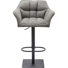 Kare Design Barkruk Thinktank Base - Zithoogte 58 - 83 cm - Stof - Grijs