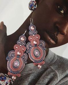 margo_sutasz Soutache Earrings, Drop Earrings, Shibori, Jewelery, Instagram, Fashion, Cushions, Stud Earrings, Fabrics