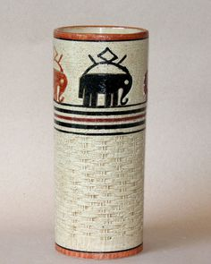 Vintage Bitossi Italian Art Pottery Elephants Navajo Tribal Vase Netter Label 12