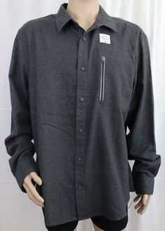 Tony Hawk Grey 2XL Long Sleeve Button Up Shirt with Vertical Media Pocket #TonyHawk #ButtonFront