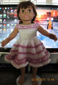 "Ladyfingers - AG Doll - ""Let's Knit a Mini-Bobbles"" Dress"