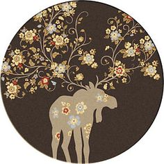Moose Blossom Chocolate Rug - 8 Foot Round