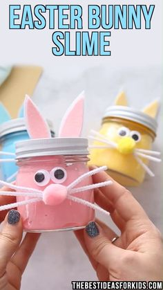 Easter Bunny Slime in vibrant pink, yellow and blue. Make an easy bunny slime jar to go with it! Great for Easter gifts or Easter baskets. EASTER BUNNY SLIME - such a fun and simple Easter slime recipe for kids! Bunny Crafts, Easter Crafts For Kids, Easter Decor, Easter Table, Easter Ideas, Easter Centerpiece, Easter Recipes, Easter Projects, Adult Crafts