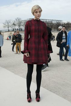 Très Chic! The Best Street Style at Paris Fashion Week: Hanneli Mustaparta worked ample texture into one look.  : Jessica Stam covered up in a rich red plaid and coordinated red T-strap heels.
