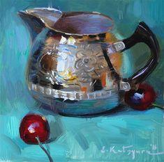 "Daily+Paintworks+-+""Silver+and+Cherries""+-+Original+Fine+Art+for+Sale+-+©+Elena+Katsyura"