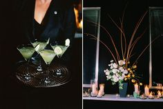 specialty cucumber cocktails and florals at Spruce restaurant
