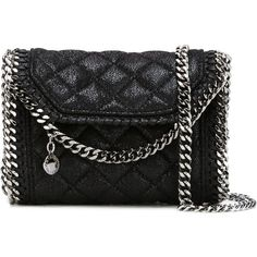 Stella McCartney 'Falabella' quilted crossbody bag (€750) ❤ liked on Polyvore featuring bags, handbags, shoulder bags, black, leather handbags, faux leather handbags, faux leather purses, crossbody purses and quilted chain shoulder bag
