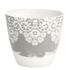 GreenGate Stoneware Latte Cup Lace Warm Grey H 9 cm | NEW! GreenGate Spring/Summer 2014 | Originated-Shop