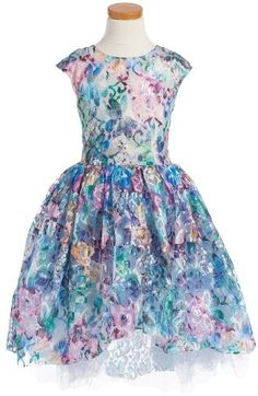 Toddler/Girls Halabaloo Sunset Princess Floral Lace Dress $115 At Nordstrom Shimmering colorful floral lace tulle dress https://api.shopstyle.com/action/apiVisitRetailer?id=614686507&pid=uid841-37799971-81