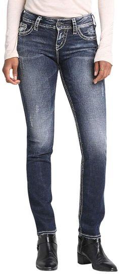 Jeans Silver Jeans Co. Women's Suki Curvy Fit Mid-Rise Straight Leg it Jeans Co. Women's Suki Curvy Fit Mid-Rise Straight Leg it# Silver Jeans, Curvy Fit, Juniors Jeans, Calvin Klein Women, Slim Legs, Jeans Brands, Stretch Denim, Plus Size Outfits, Fashion Outfits