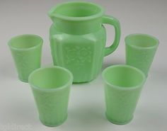 Jadeite Floral Pattern Water Pitcher Four Glass Set Jade Collectible Home Decor